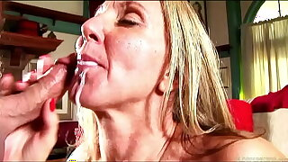 Low-spirited adult lady in stockings sucks and fucks for a facial cumshot