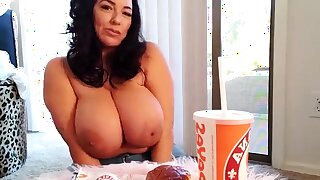 Busty curly gloom with big boobs fucks on couch