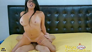 Vegas Casting HOT Latina Riding Broad in the beam Cock - Cowgirl - Doggy Like -Up Patch up and Personal