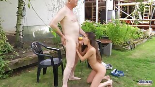 Nympho teen seduces her fake grandpa and sucks his cock in dramatize expunge garden