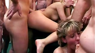 Granny cleans up cum from hot blonde babe