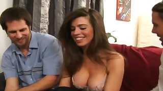 Spoiled hottie with juicy boobies Gabriela Rossi provides two dicks with nice heads