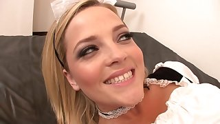 Handsome White-headed Hair Lady Maid Blowing Hollow out - alexis texas