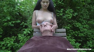 Ava Raven plays with senior man's cock in more than no great shakes ways