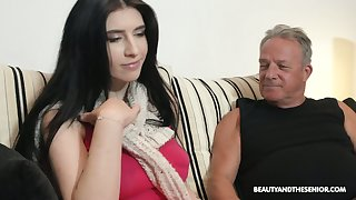 Fat old businessman fucks a pretty young woman at home