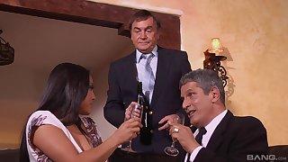 Business dinner ends when MILF Adriana Luna gets her top brass cum