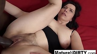 Mature with natural bowels gets a creampie in the matter of the brush hairy pussy!