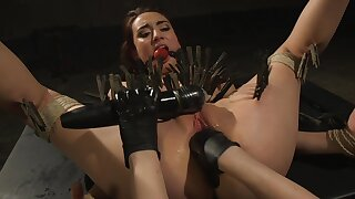 Clamped whore ass fucked by the brush dominant mistress
