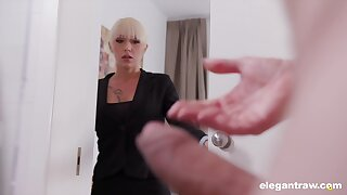 Christina catches her concern partner jerking off added to decides to help him