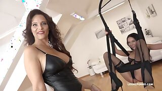 Syren De Mer and Francys Belle are using a swing while having a threesome with a diabolical guy