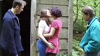 Yoke lesbians before of voyeurs in the woods