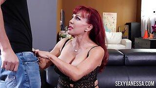 Brawny breasted mature Latina redhead XXX Vanessa gives awesome blowjob