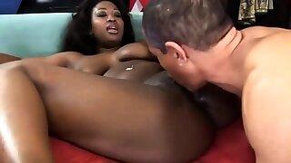 Busty Ebony Pornstar nailed by many cocks