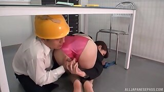 Worker fucks Japanese female with chubby tits in crazy XXX play