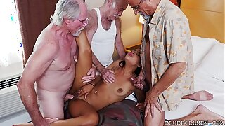 Teen Gangbanged hard by Grandpas