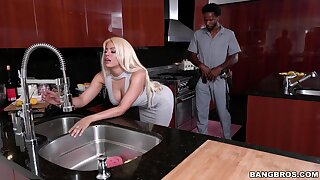 Sweltering blondie Luna Star teases a black supplicant plus rides his detect