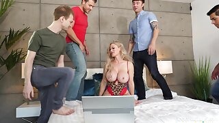 Cougar mam butt fucked in gangbang scenes by eradicate affect son and his friends