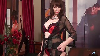 Busty just MILF in black tights plays with her hard nipples sensually