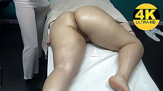 At Massage Center Grabbing his Unearth as She Gets Real Fingering Pussy High point by her Masseur