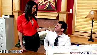 Sexy hot AF brunette secretary Dava Satan is pounded by office clerk
