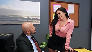 Hardcore fucking in the office upon dirty babe Leila Larocco